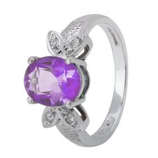 9ct White Gold Oval-cut Amethyst and Diamond Butterfly Cluster Ring 095-JR0869L/W/AM