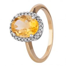 9ct Yellow Gold Oval Citrine and Diamond Cluster Ring 9DR322/CT/2C/O