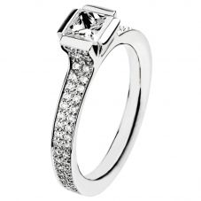 Henrich and Denzel Lily- Platinum 0.52ct Princess Cut Diamond Shouldered Ring P4891-99