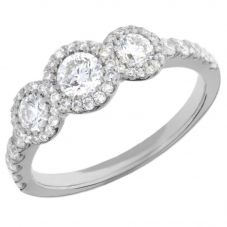 Arctic Circle Diamonds 18ct White Gold 1.01ct Round Brilliant Trilogy Cluster Ring UKR11019