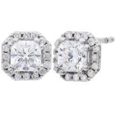 Arctic Circle Diamonds 18ct White Gold 0.96ct Radiant Cut Diamond Cluster Stud Earrings UKE2368