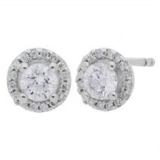 Arctic Circle Diamonds 18ct White Gold 0.53ct Round Brilliant Diamond Halo Stud Earrings UKE2369