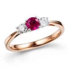 18ct Rose Gold Diamond Ruby 3 Stone Ring 14.08408.010