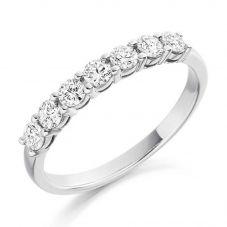 Platinum 0.50ct Claw Set Round Brilliant Half Eternity Ring HET1493 PLAT