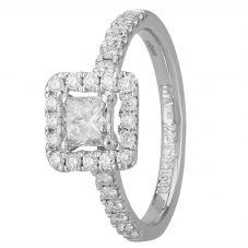 1888 Collection Platinum Certificated Princess-cut Diamond Cluster Ring DSC44(4.5)0.50CT PLUS- D/SI2/0.80ct