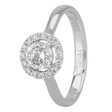 1888 Collection Platinum Certificated Diamond Floating Halo Cluster Ring DSR21(.60CT PLUS)