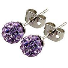 Tresor Paris Placy Titanium Lilac Crystal Stud Earrings 016002