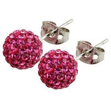 Tresor Paris Proussy Titanium 8mm Pink Crystal Stud Earrings 016007