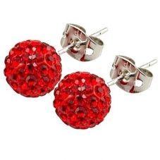 Tresor Paris Saint Remy Titanium 8mm Red Crystal Stud Earrings 016012