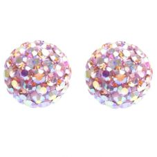 Tresor Paris Titanium 8mm Rose Pink Crystal Stud Earrings 019314
