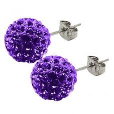 Tresor Paris Titanium 10mm Purple Crystal Studs 019685