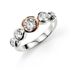 Silver And Rose Gold Cubic Zirconia 5 Stone Ring R3321C