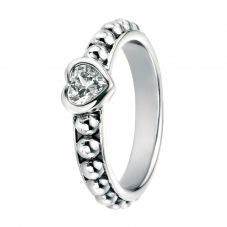 Silver Clear Cubic Zirconia Heart Ball Ring R3447C