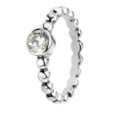 Silver Cubic Zirconia Round Ball Ring R3457C