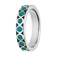 Silver Turquoise Inlay Circle Ring R3448T
