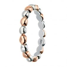Rhodium And Rose Gold-Plated Multi Ball Ring R3462
