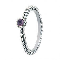 Silver And Cubic Zirconia Oxidised Purple Twist Ring R3443M