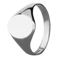 Sterling Silver Small Oval Plain Signet Ring 095-SV931P