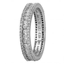 Silver Clear Cubic Zirconia 3 Row Band Ring ASHR007-CZ