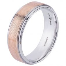 9ct Two Colour Gold 7mm Flat Court Ribbed Wedding Ring 5022801 T