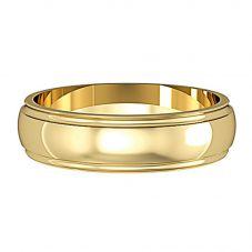 9ct 5mm D-Shape 1 Line Edge Wedding Ring ST-R428D