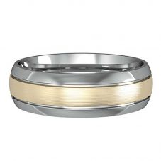 9ct Two-Tone Satin 6mm Court Ring R26E052