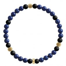 Thomas Sabo Gold Plated Black Blue Beaded Bracelet A1529-931-32-L17