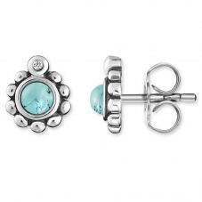 Thomas Sabo Ladies Silver Diamond Ethnic Turquoise Earrings D_H0004-357-17