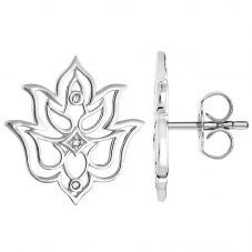 Thomas Sabo Ladies Glam And Soul Silver Diamond Lotus Flower Ornamentation Earrings D_H0007-725-21