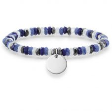 Thomas Sabo Silver Disc Blue Black White Stone Bracelet LBA0023-829-7