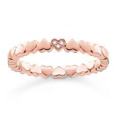 Thomas Sabo Rose Gold Tone Diamond Heart Band Ring D_TR0013-923-14