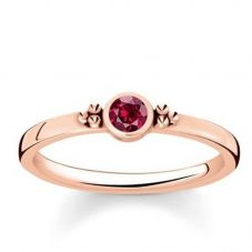 Thomas Sabo Rose Gold Plated Royalty Red Stone Ring TR2154-540-10-54