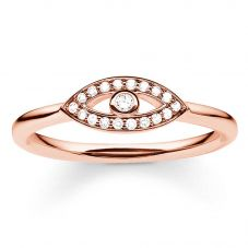 Thomas Sabo Silver Rose Gold Plated Cubic Zirconia Nazar Eye Ring TR2075-416-14