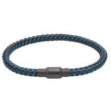 Unique Mens Black Leather Blue Steel Wire and Carbon Braided Magnetic Bracelet B343BLUE/21CM