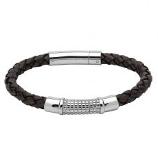 Unique Mens Thick Antique Dark Brown Leather and Stainless Steel Braided Bracelet B352ADB/21CM