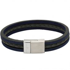 Unique Mens Matte Blue Leather Bracelet B388BLUE/21CM