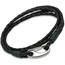 Unique Stainless Steel Black Leather Bracelet B178DG