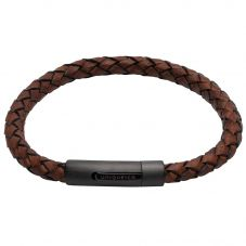 Unique Stainless Steel Matte Black IP Plated Antique Brown Leather Bracelet B438ADB/21CM