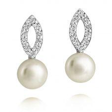 Jersey Pearl Freshwater Pearl Cubic Zirconia Dropper Earrings AME3