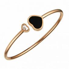 Chopard Happy Hearts 18ct Rose Gold Onyx Diamond Bangle 857482-5203 (M)