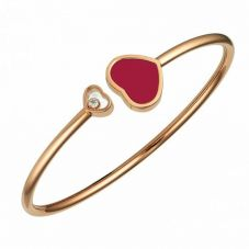 Chopard Happy Hearts 18ct Rose Gold Red Bangle 857482-5702 (S)