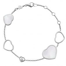 Chopard Happy Hearts 18ct White Gold Mother Of Pearl Bracelet 857482-1031