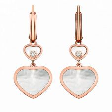 Chopard Happy Hearts 18ct Rose Gold Mother Of Pearl Diamond Earrings 837482-5310