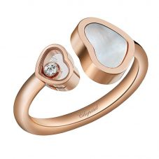 Chopard Happy Hearts 18ct Rose Gold Mother Of Pearl Diamond Ring 829482-5310 (52)