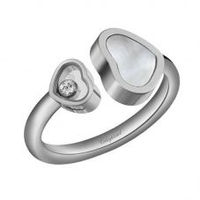 Chopard Happy Hearts 18ct White Gold Mother Of Pearl Diamond Ring 829482-1310 (52)