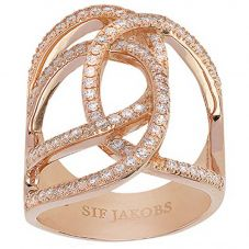 Sif Jakobs Ladies Rose Gold-Plated 'Fucino Grande' Crossover White Cubic Zirconia Ring SJ-R11199-CZ(RG)