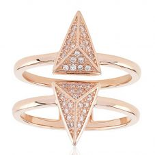 Sif Jakobs Rose Gold-Plated 'Pecetto' Double Arrow Cubic Zirconia Ring SJ-R0043-CZ(RG)