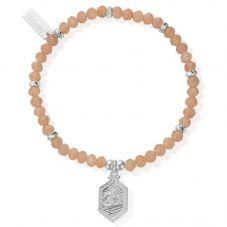 ChloBo Cherabella Peach Moonstone Tranquil Om Bracelet SBPM674