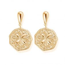 ChloBo Ariella Gold Plated Flower Coin Dropper Earrings GEDR1031