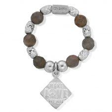 ChloBo Silver Labradorite Sparkle 'Make Love Not War' Ring SRLABSSR